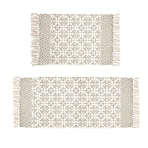 Pauwer Tan Moroccan Cotton Area Rug Set 2 Piece 2'x4.2'+2'x3' Machine Washable Printed Cotton Rugs with Tassel Hand Woven Cotton Rug Runner for Kitchen, Living Room, Bedroom, Laundry Room, Entryway