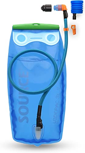 SOURCE Outdoor 3L Ultimate Widepac Hydration Bladder for Hydration Packs – High-Flow Helix Bite Valve – Includes UTA Adaptor for Rapid Refill and Magnetic Clip – 100oz, Transparent Blue, Model 2061420203