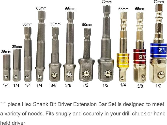 Destornillador a bater/ía adaptador para toma llave de tubo Set de tuercas 3 piezas 1//4 3//8 1//2 pulgadas y adaptador para enchufes 4 piezas 1//4 a 3//8-3//8 a 1//4 pulgadas Andifany