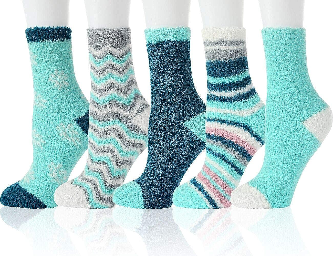 Fuzzy Cozy Socks Women Fluffy Plush Crew Slipper Sock For Girls Warm for Winter 5-6 Pairs
