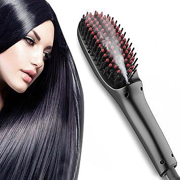 Alisador de cabello vapor, plancha para el pelo cepillo de vapor ...