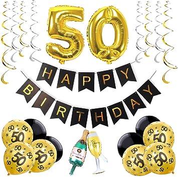 KEPATO 50th Birthday Party Pack Black Gold Sliver Happy BuntingPomsBalloons