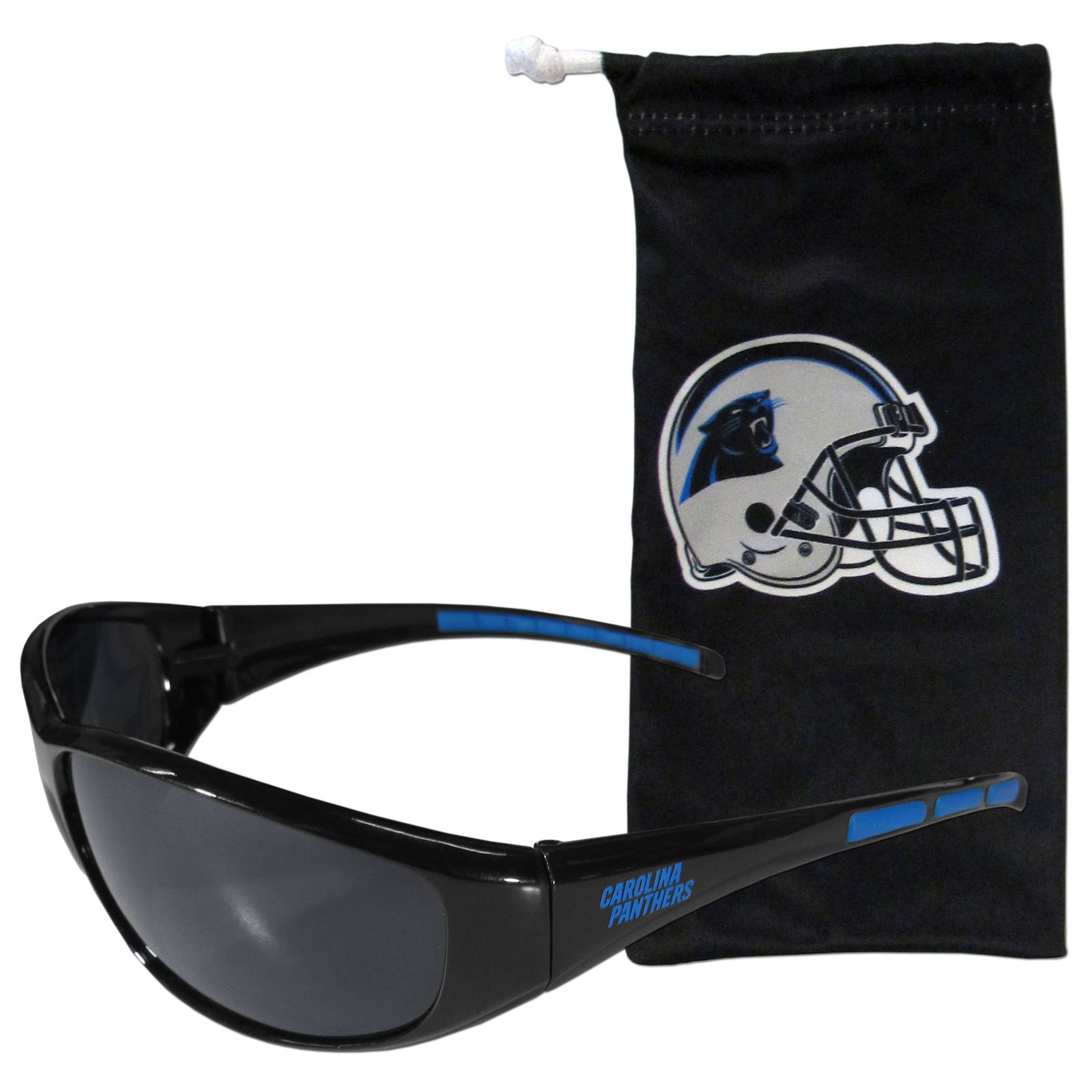 NFL Carolina Panthers Adult Sunglass and Bag Set, Black
