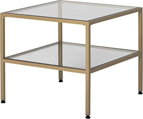 Studio Designs Home Camber 2-Tier Modern 25 Square End Side Table in Gold Clear Glass