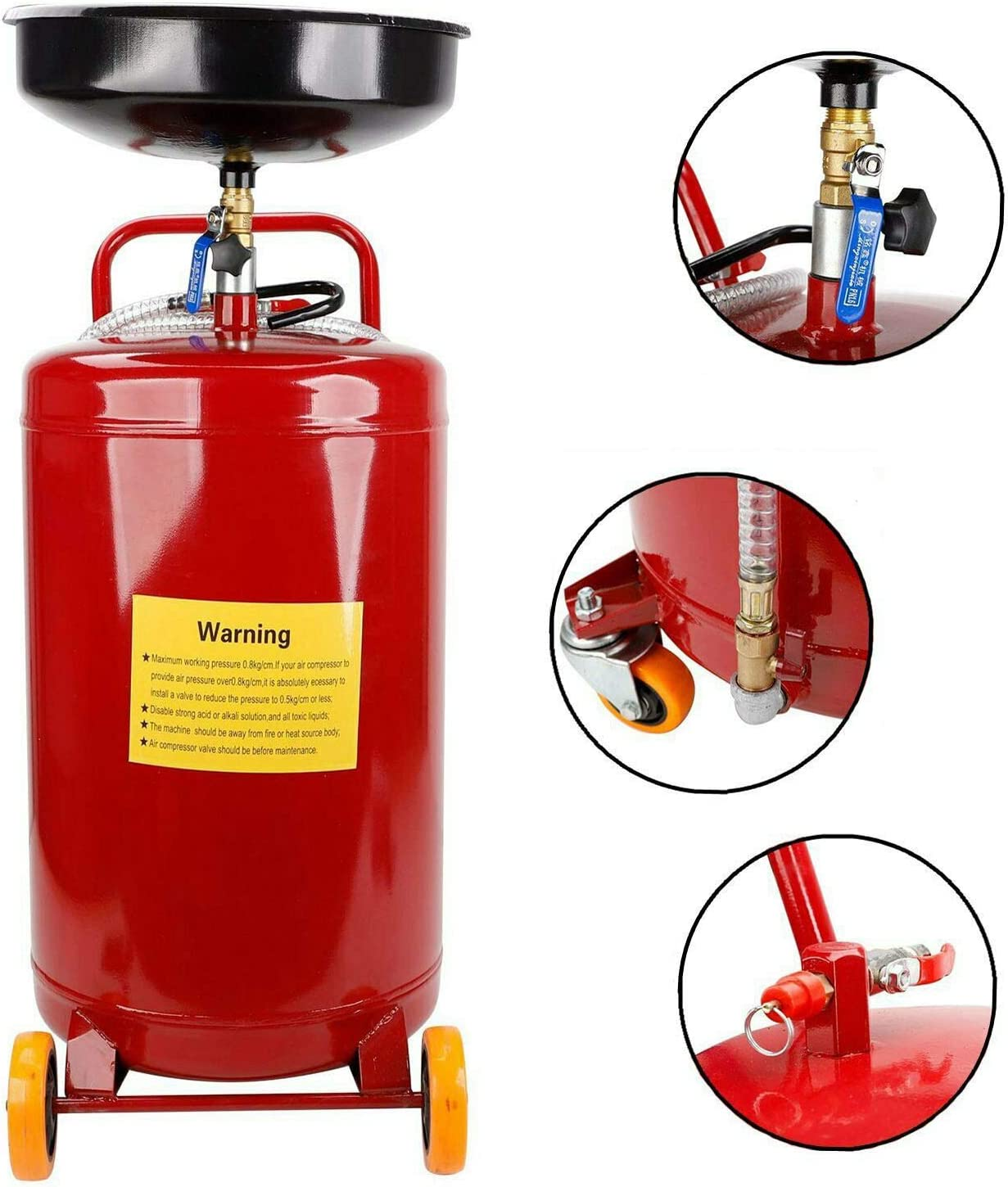 Amazon Com Ay Autoparts 20 Gallon Gas Fuel Diesel Caddy Transfer Tank Container Storage Waste Oil Drain Tank Air Operated Air Pressure Pump Automotive