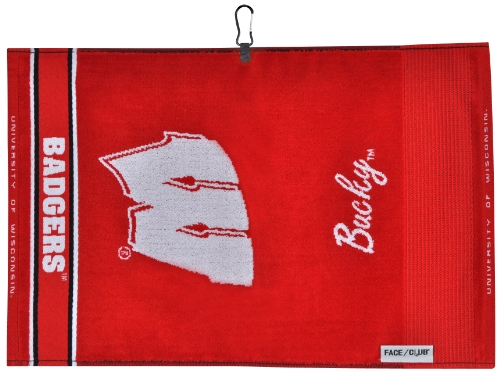 Wisconsin Badgers Face/Club Jacquard - Woven Towel Ncaa Jacquard