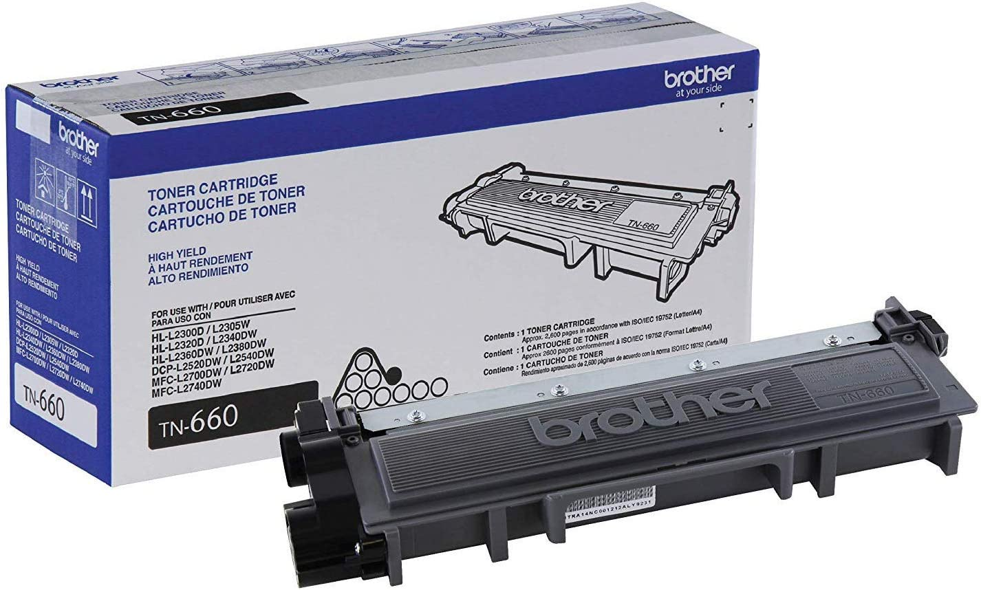 Brother Genuine High Yield Toner Cartridge, TN660, Replacement Black Toner, Page Yield Up To 2,600 Pages,  Dash Replenishment Cartridge: Office Products