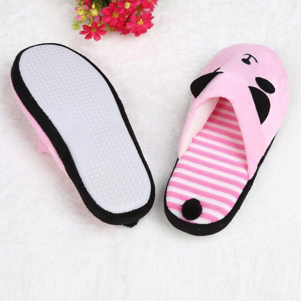 Lovely Womens Cartoon Panda House Soft Stripe Slippers