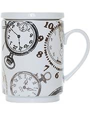 La Cija Relojes - Tisana de Porcelana con Filtro de Acero Inoxidable, Color Blanco