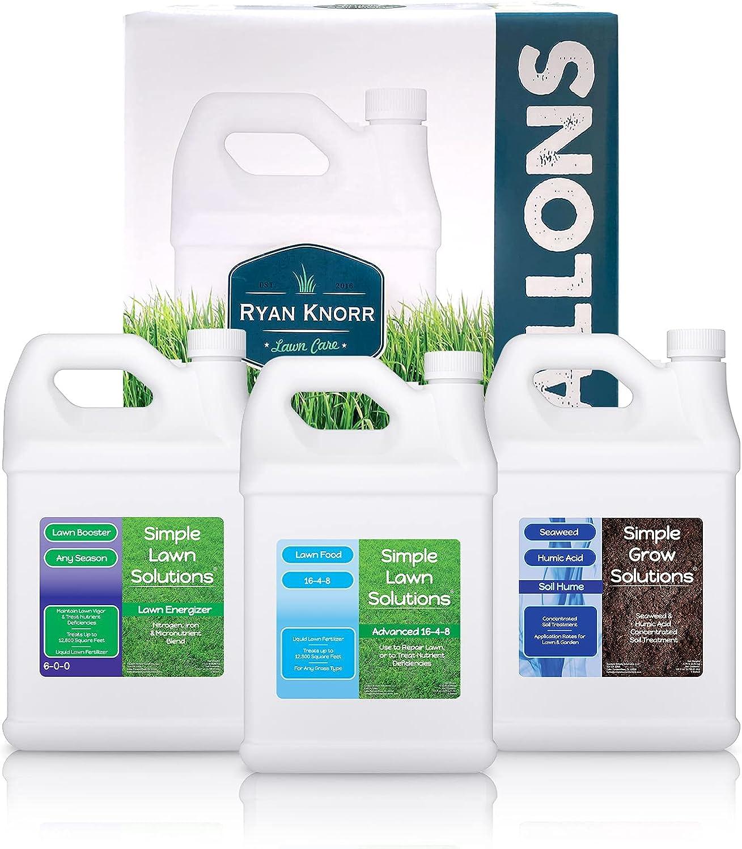 Simple Lawn Solutions - Ryan Knorr - Gallon Bundle- Lawn Essentials Bundle Box - 3 x 1 Gallon Set - Lawn Food 16-4-8 Fertilizer, Lawn Energizer Booster, Soil Hume- Seaweed, Humic Acid