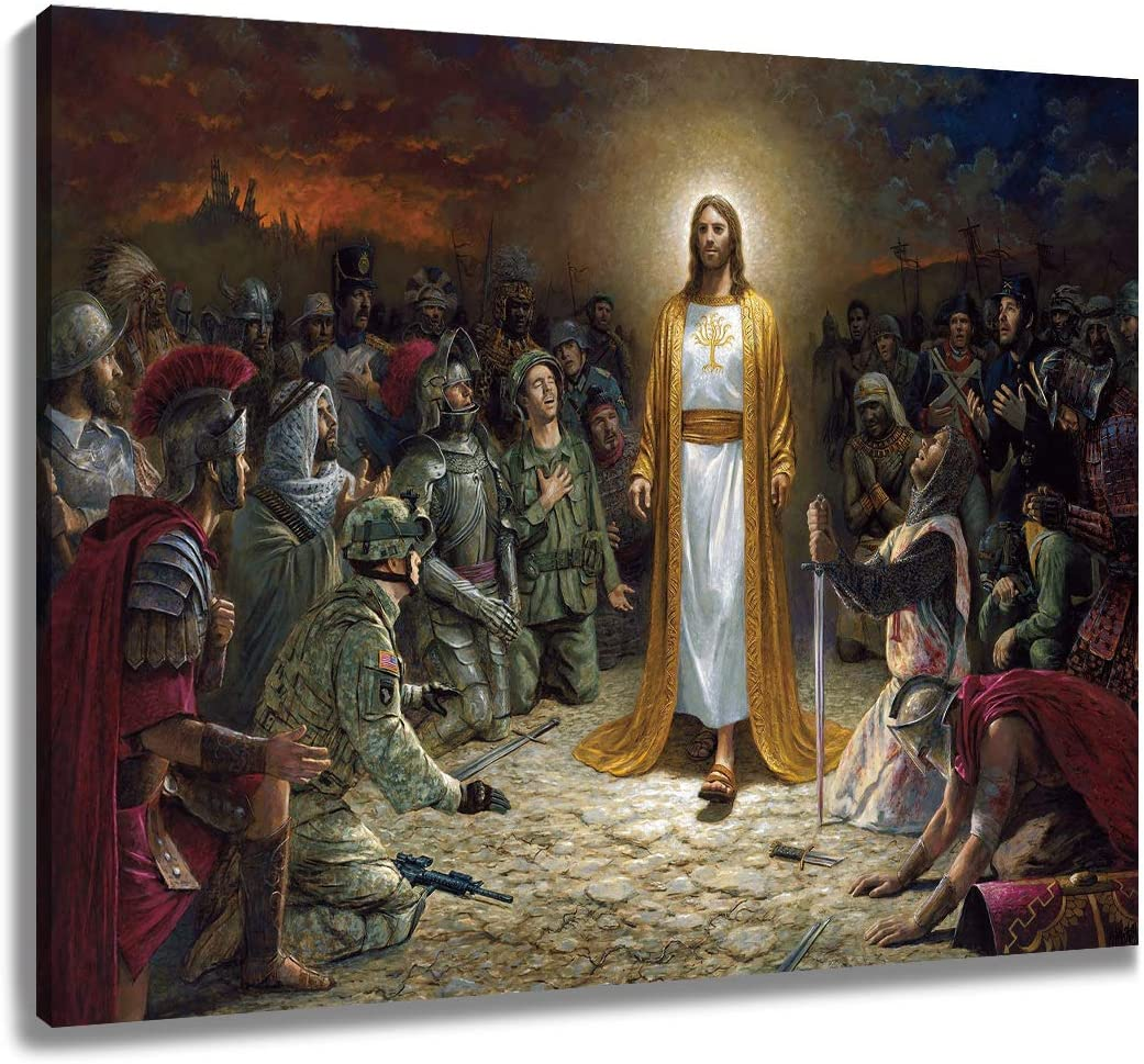 LB Christ Jesus Canvas Wall Art Preaching for The Soldiers Holy Religious Christian Painting Canvas Prints Living Room Bedroom Bathroom Wall Decor Framed Ready to Hang,16x12 inches
