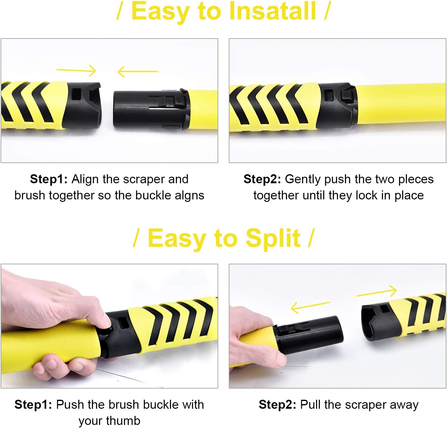 34 to 41.5 Extendable Snow Removal Broom for Car Auto SUV Truck Windshield Windows Car Snow Brush with Detachable Ice Scraper and Ergonomic Foam Grip