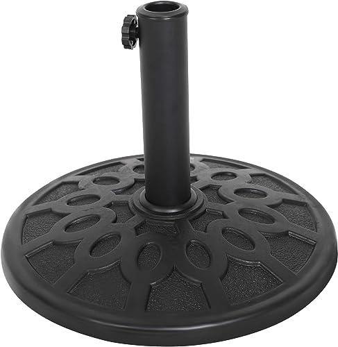 LUCKYERMORE Patio Umbrella Base Stand 17-Inch 18LB Fits 1.5in to 1.90in Umbrella Pole Heavy Duty Rust Free Composite Resin for Outdoor Patio Lawn Restaurant,Base de sombrilla de Patio