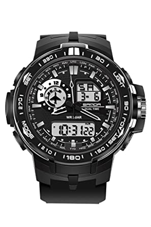 Sanda Mens deportes al aire libre relojes de cuarzo Fishion LED luz de fondo Cronómetro Negro: Amazon.es: Relojes