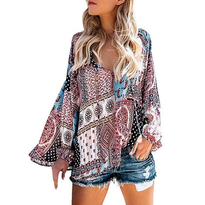 ❤ Blusa de Mujer con Estampado Floral, Casual V Cuello Manga Larga Camisetas Tops Absolute: Amazon.es: Ropa y accesorios