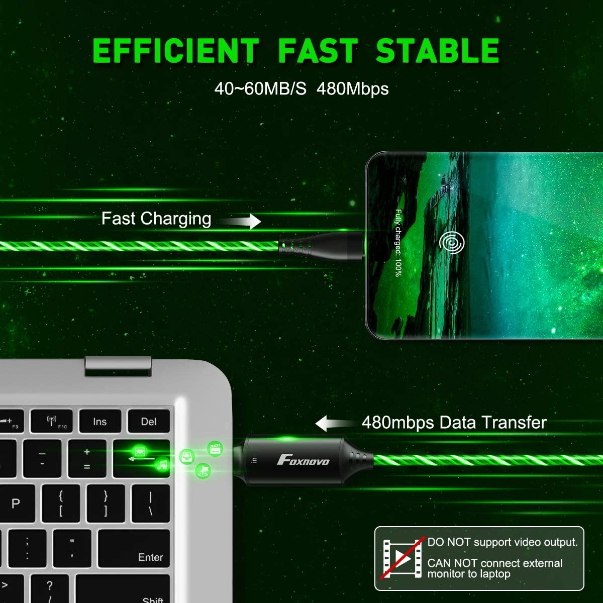 USB C to USB C 60W Fast Charging Cable, EL Flowing Type C to Type C Charge Cord (Green, 3.3 ft)