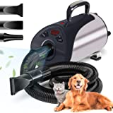 Dog Dryer, Professional Dog Hair Dryer With Led Screen 8 Adjustable Speeds & Temp Dog Blow Dryer High Velocity Low-Noise Pet