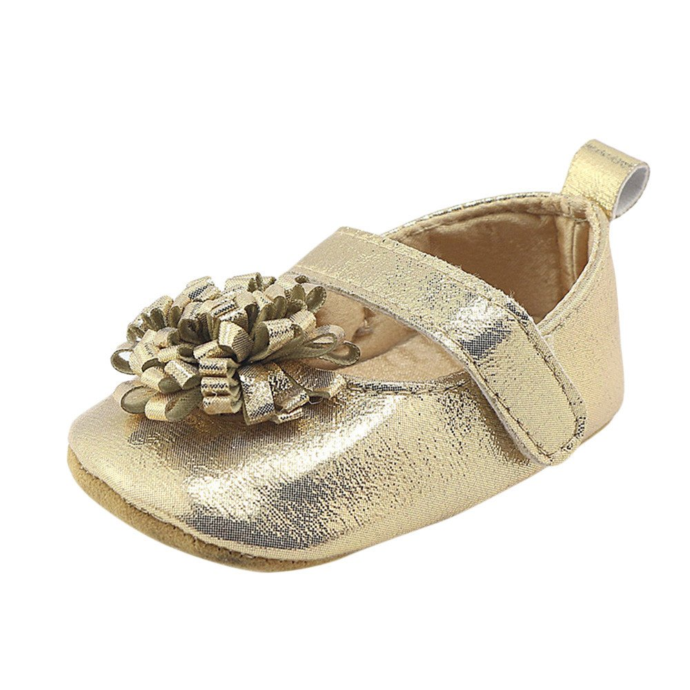 11, Silver Coohole Newborn Infant Baby Girls Kids Hook /& Loop Flower Crib Shoes Soft Sole Anti-slip Sneakers