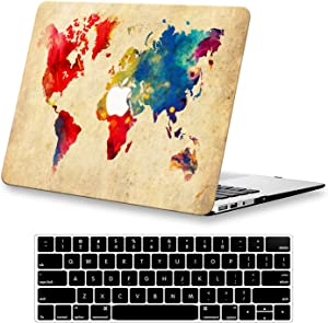 KEROM MacBook Air 13 inch Case 2020 2019 2018 Release M1 A2337 A2179 A1932, Plastic Hard Shell Case and Keyboard Cover for MacBook Air Retina 13 inch with Touch ID, Vintage Map
