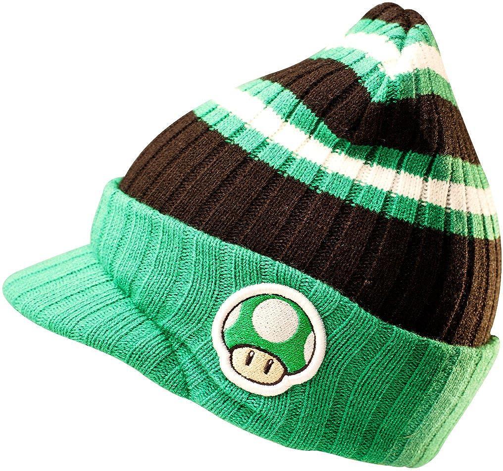 44fc7d33302 Meroncourt Unisex NINTENDO Super Mario Bros. Embroidered Green Mushroom  Patch and Striped Pattern Billed Beanie Beanie