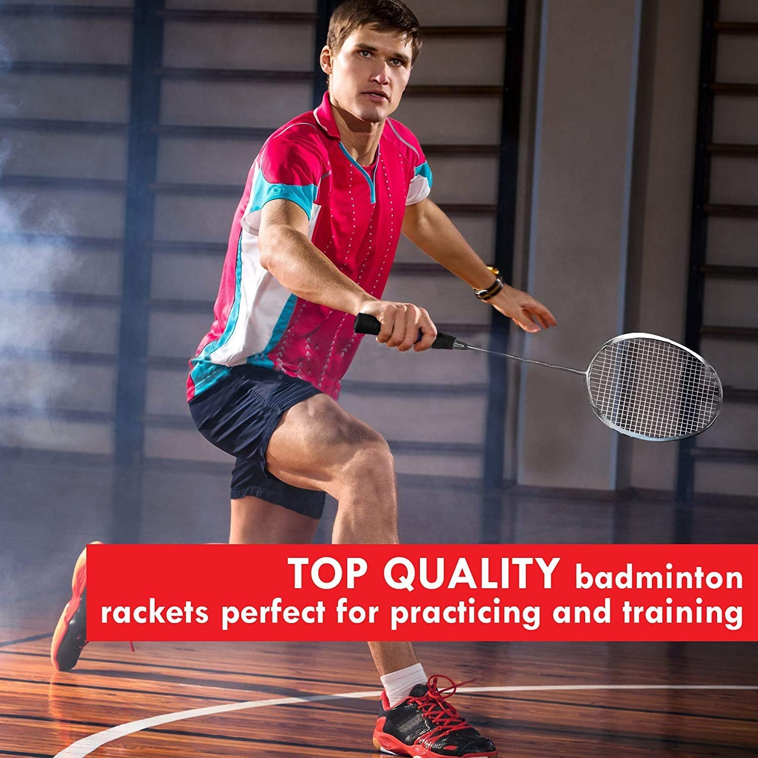 Trained Premium Quality Set of Badminton Rackets, Pair of 2 Rackets, Lightweight & Sturdy, with 5 LED SHUTTLECOCKS, for Professional & Beginner Players Adults and Children, Carrying Bag Included : Sports & Outdoors