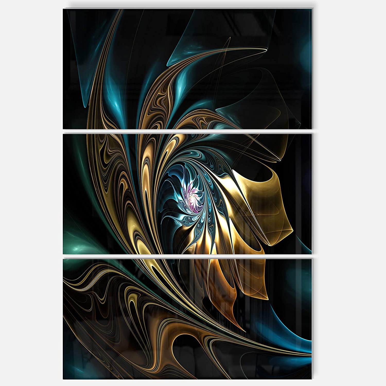 Amazon Com Designart Mt12104 3pv Brown Blue Fractal Flower In Black Oversized Abstract Metal Wall Art 3 Piece 28 H X 36 W X 1 D 3p Wall Art