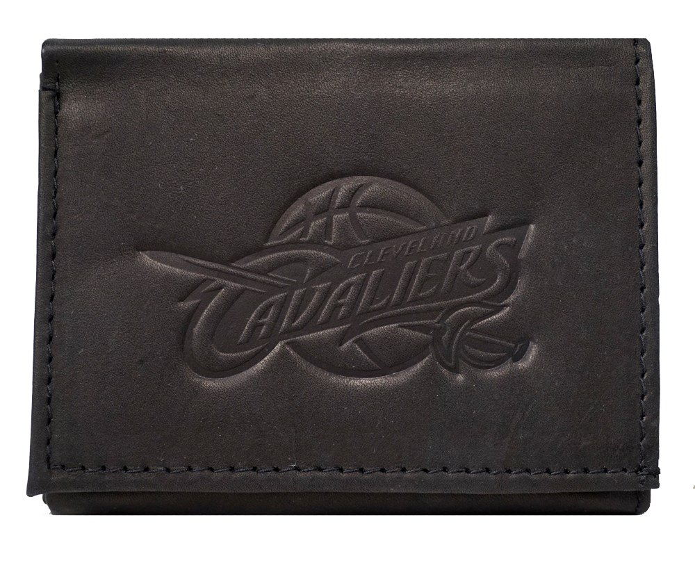 Rico Cleveland Cavaliers NBA Embossed Logo Black Leather Trifold Wallet
