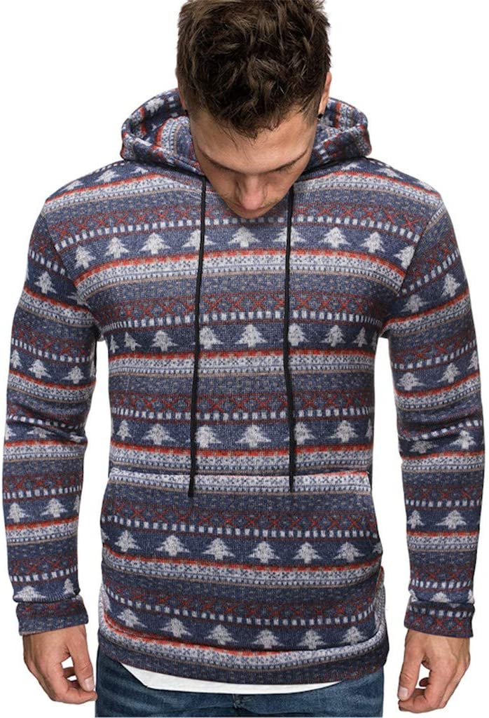 Muranba Mens Autumn Winter Pullover Knitted Hooded Sweater Coat