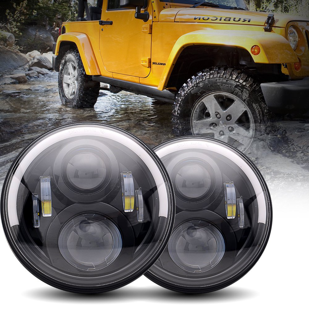 TURBOSII DOT Approved 7Inch Round Jeep Wrangler Projector Angel Eye LED Headlights W/ DRL Amber Turn Singal Hi/Lo Beam For Unlimited Sahara JKU Rubicon Sport Cruiser FJ JK TJ LJ CJ Hummer VW Westfailia Miata by TURBOSII (Image #1)