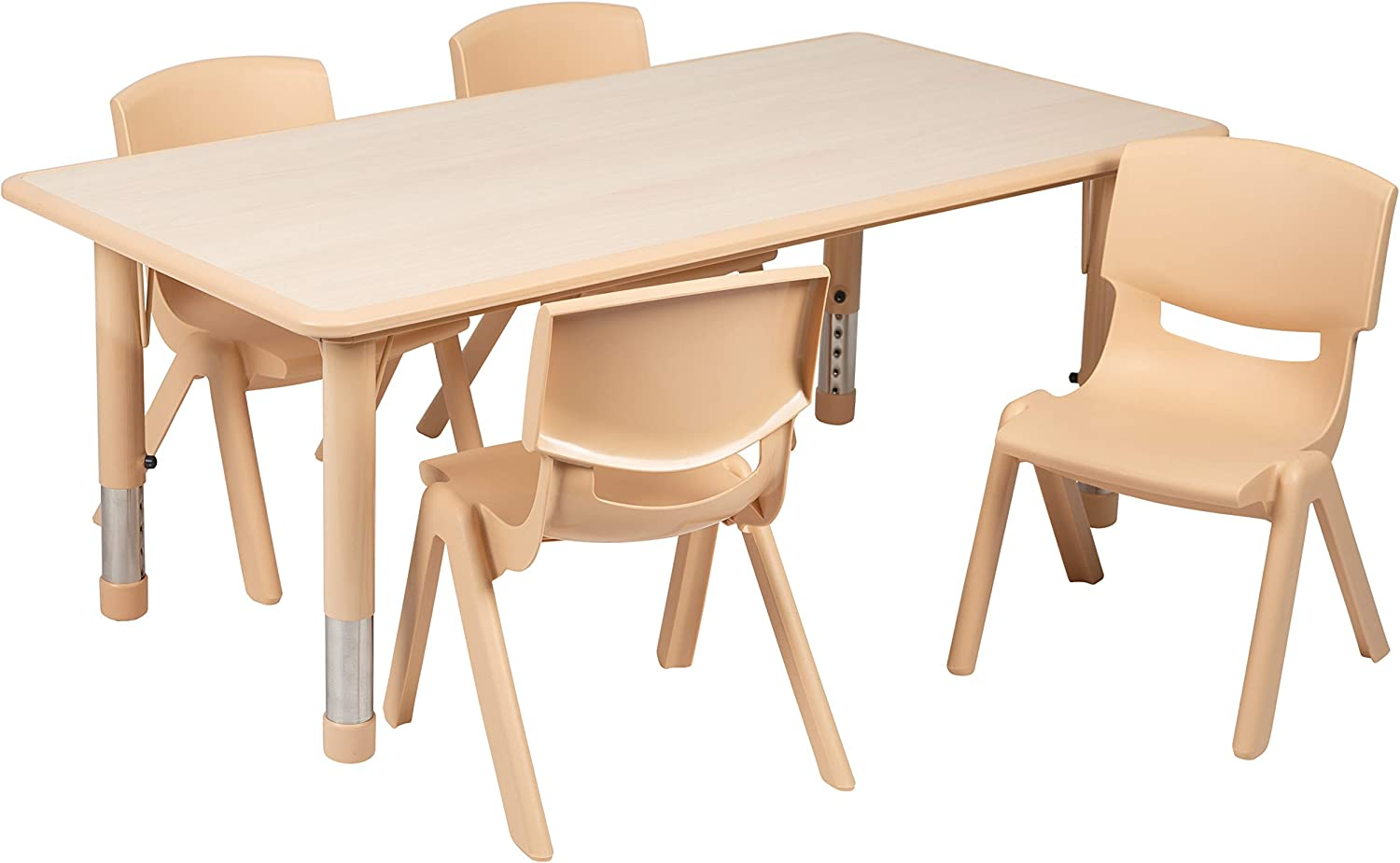 "Flash Furniture 23.625""W x 47.25""L Rectangular Natural Plastic Height Adjustable Activity Table Set with 4 Chairs"