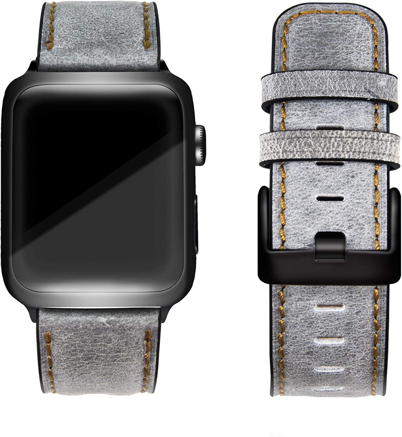 Lifendear Vintage Leather Band Compatible with Apple Watch Bands 38mm 40mm 42mm 44mm Retro & Vintage Double Head Layer Cowhide Band for iWatch Series 6/SE/5/4/3/2/1 Soft&Comfort Men Women Top Grain Genuine Leather iWatch band