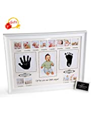 LEADSTAR Baby Handprint & Footprint Photo Frame Kit, Newborn Boys Girls First Year Baby Picture Frame Set, Keepsake Ornament Photo Frame for Baby Shower Registry, Art Frame Collection Wall Decor