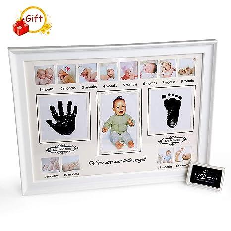 Kit de Huella, BelleStyle Kit de Marco Para Manos y Huellas de Bebé para Niño y Niña, Footprint, Handprint con Marcos de Fotos para Bebe Recien ...