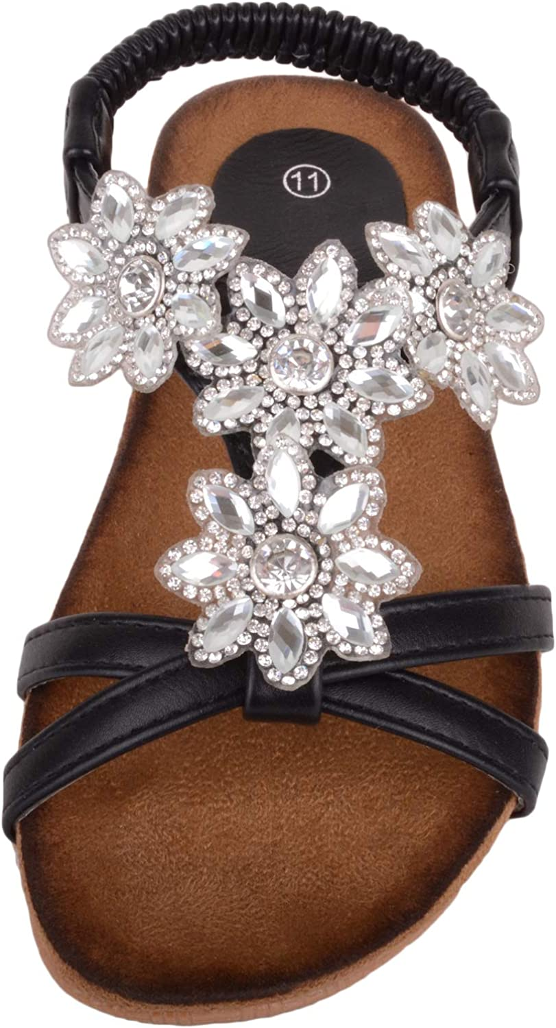Absolute Footwear Childrens//Kids//Girls Summer//Holiday Sandals//Shoes with Floral Diamonte Pattern