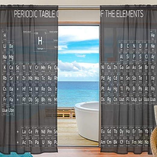 Cortina Transparente Vintage Negro Tabla periódica de los Elementos Cortina de Ventana para el hogar Dormitorio Sala de Estar Decoración Cortinas Retro Tulle Print Semi Sheer 55x84 Pulgadas 2 Paneles: Amazon.es: Hogar