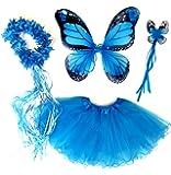 """Costume bambina """"Farfalla"""" - Tante Tina – Set di 4 pezzi – Con ali da fata o farfalla – Monarca blu"""