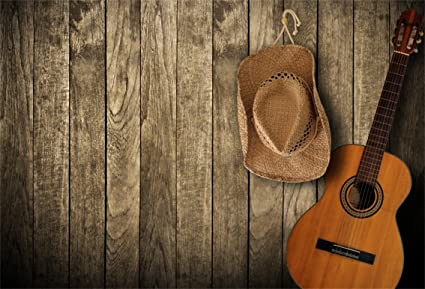 Csfoto 5x3ft Background For Guitar Country Music Western Cowboy Hat Photography Backdrop Song Concert Wooden Wall Singer Performance Stage Party Photo