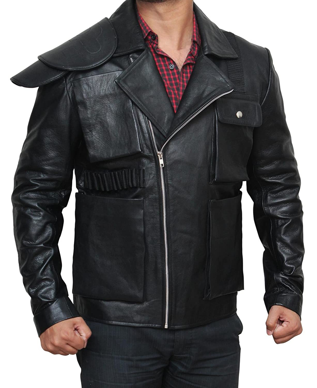 fjackets Mens Black Slim Asymmetrical Genuine Leather Biker Jacket