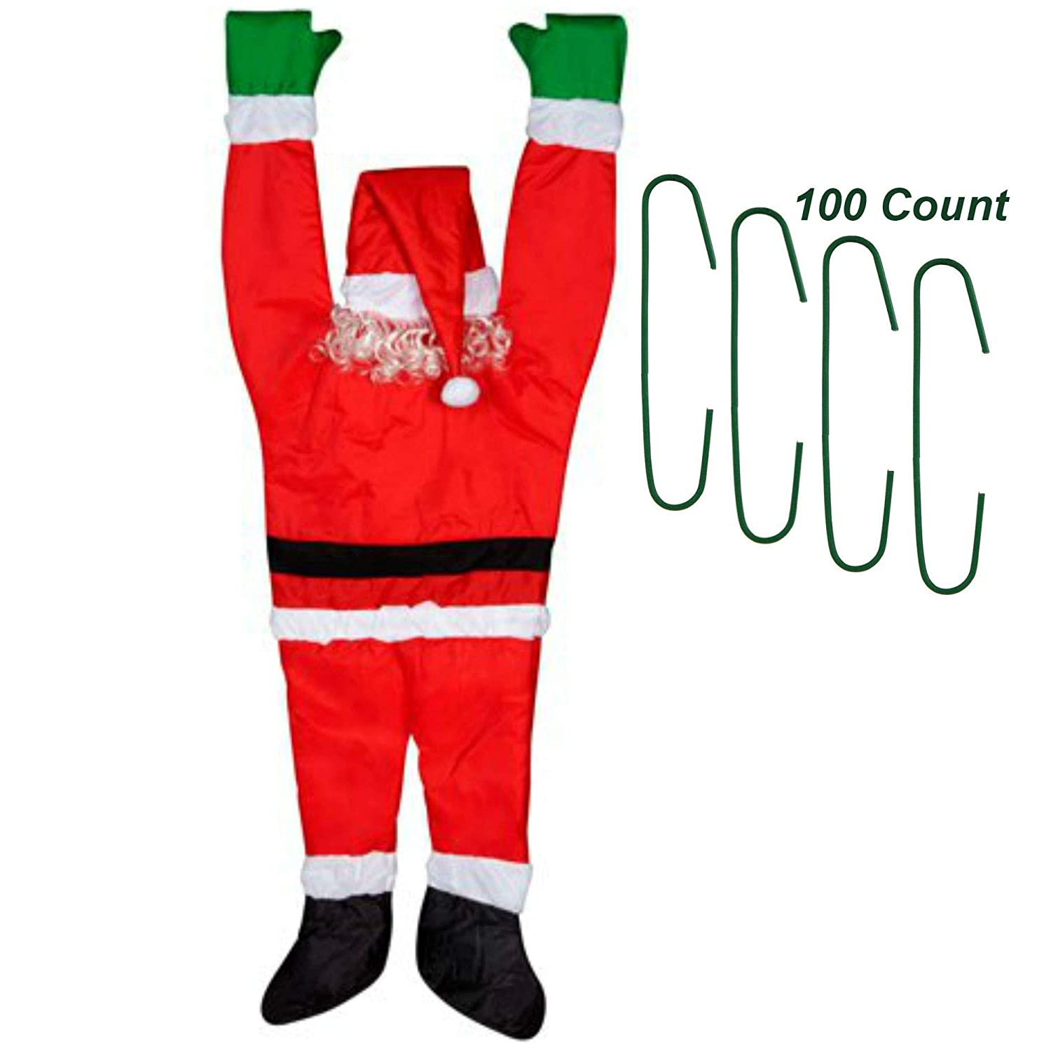 Santa Hanging from Gutter with Christmas Decoration Ornament Hooks 100 Count