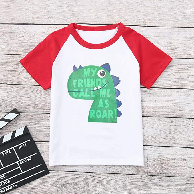 TIANRUN Toddler Kids Baby Boys Clothes Cute Cartoon Short Sleeve Dinosaur Print T-Shirt Tops Blouse