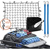 Roof Rack Cargo Net 3' x 4' Stretches to 6' x 8', 24 Pieces Universal Hooks, 2 Bungee Cargo Cord, Carabiner for…