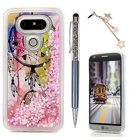 Carcasa LG G5, Funda Silicona TPU Bling Lentejuelas Arenas movedizas Cubierta Glitter Sparkle Brillar Claro Cristal Bumper Case Cover Moda Tapa ...