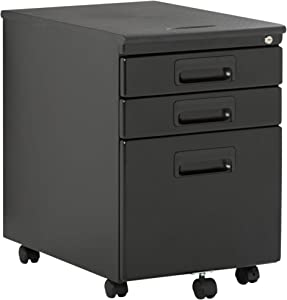Craft & Hobby Essentials Black Metal 3, Vertical, Mobile Filing Cabinet 15.75\ W x 22\ D, Craft Supply Storage with Locking Drawers