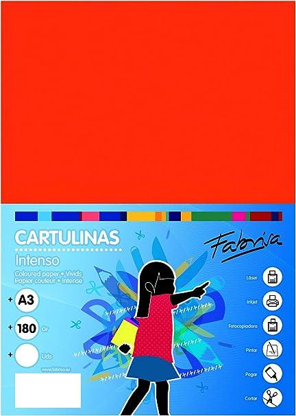 Pack 50 Cartulinas Color Naranja Tamaño A3 180g: Amazon.es: Oficina y papelería