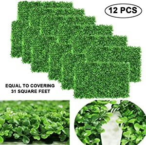 """FYHEART Artificial Boxwood Panels Faux Hedge Plant Wall Backdrop UV Protection Indoor Outdoor Greenery Fence Wall Decoration,24""""x16"""" (12pc Boxwood Panels)"""