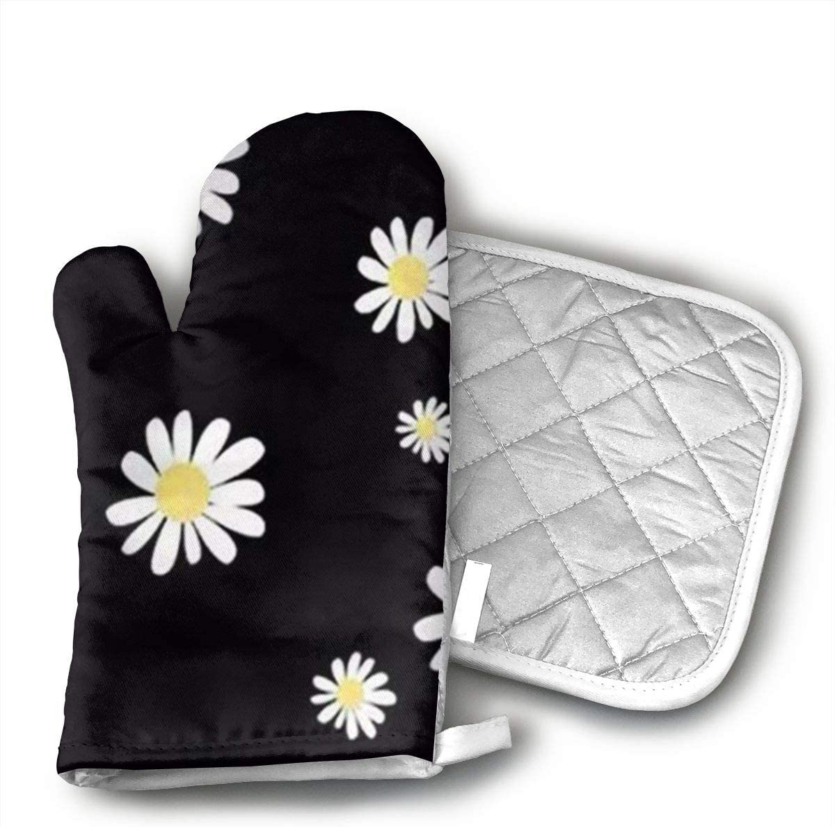 BVHOEV Daisy Yellow Flower Polyester/Cotton Oven Mitts and Thermal Pads are Ideal for handling hot cookware