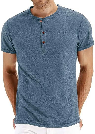 Camisetas Hombre Manga Corta Camisas Hombre Originales Camiseta con botón de Agujero Rasgado Casual para Hombre Blusa Top: Amazon.es: Ropa y accesorios