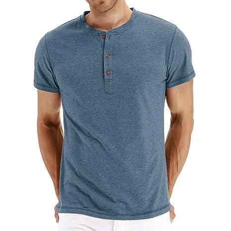 Amlaiworld Camisetas Hombre Manga Corta Camisas Hombre Originales Camiseta con botón de Agujero Rasgado Casual para Hombre Blusa Top: Amazon.es: Ropa y ...