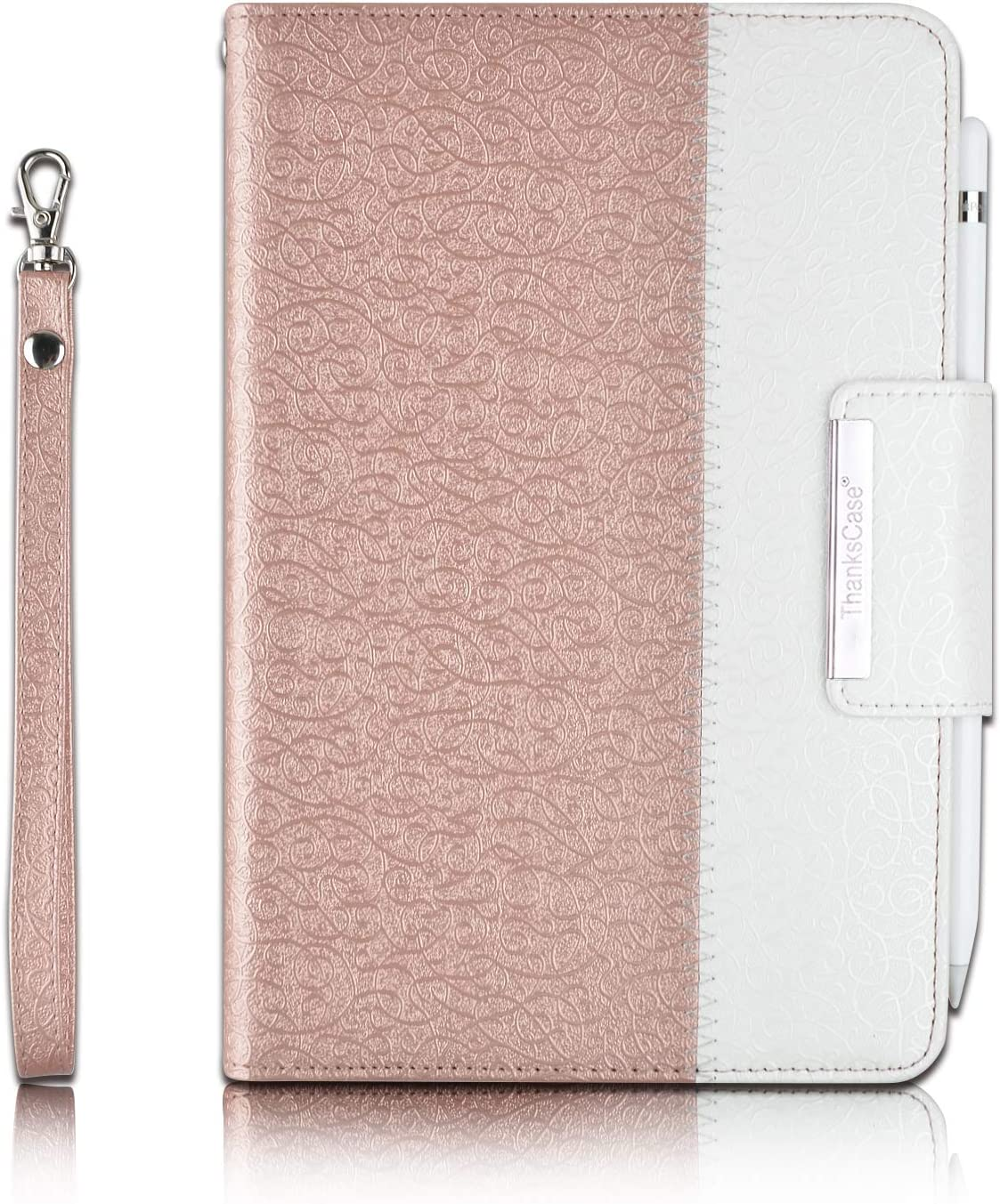 "Thankscase Case for iPad Mini 5 7.9"" 2019 / iPad Mini 4 2015, Rotating Case Leather Cover with Apple Pencil Holder, Swivel Case Build in Hand Strap, Wallet Pocket for iPad Mini 5th Gen (Rose Gold)"