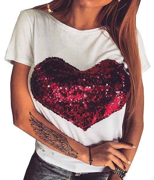 72081751e Sail-Dream Verano Mujeres Tops Manera Lentejuelas Corazón Rojo Blusa  Camisetas Remata Casual Cuello Redondo Manga Corta Camisas Sweatshirt  Pulóver  ...